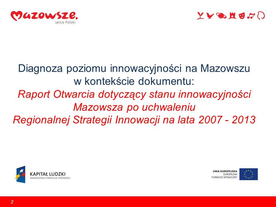 Diagnoza poziomu innowacyjności na Mazowszu w kontekście dokumentu: Raport Otwarcia dotyczący stanu innowacyjności Mazowsza po uchwaleniu Regionalnej Strategii Innowacji na lata 2007 - 2013 2