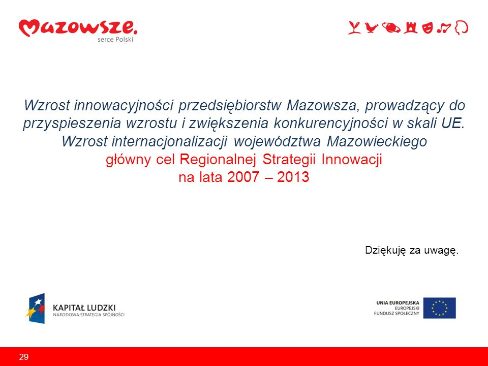 Wzrost innowacyjności przedsiębiorstw Mazowsza, prowadzący do przyspieszenia wzrostu i zwiększenia konkurencyjności w skali UE. Wzrost internacjonaliz