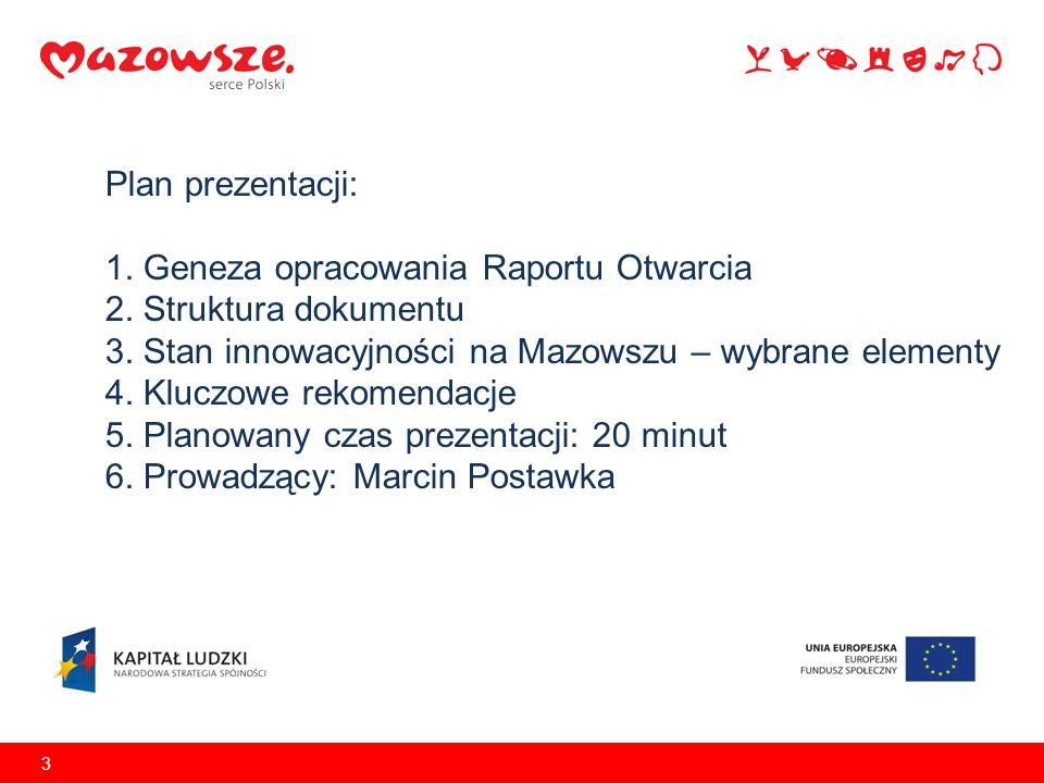Plan prezentacji: 1. Geneza opracowania Raportu Otwarcia 2. Struktura dokumentu 3. Stan innowacyjności na Mazowszu – wybrane elementy 4. Kluczowe reko