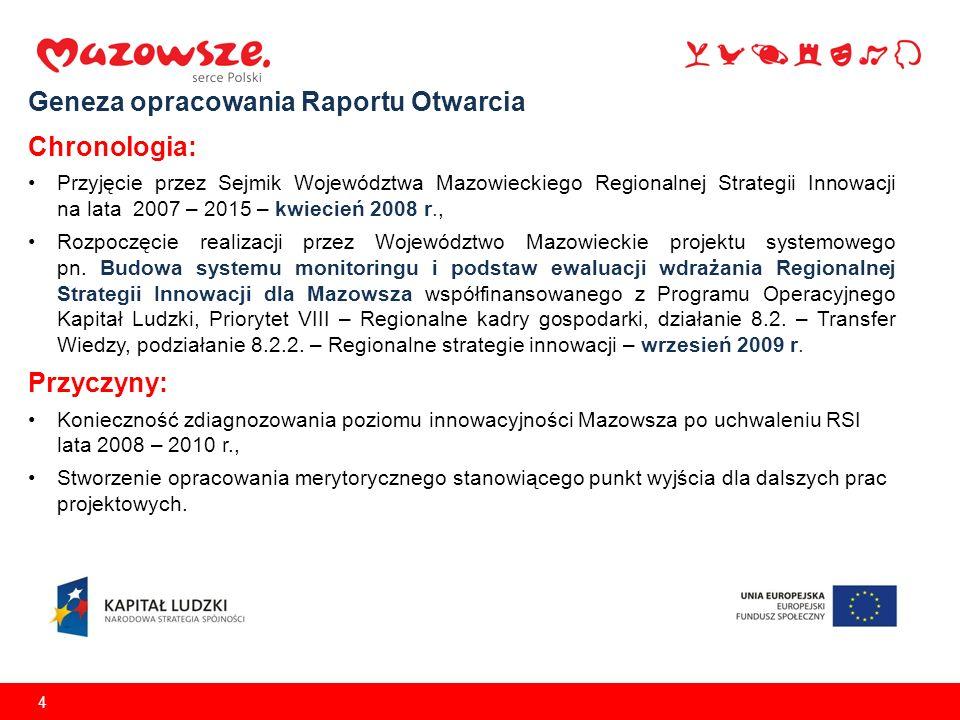 4 Geneza opracowania Raportu Otwarcia Chronologia: Przyjęcie przez Sejmik Województwa Mazowieckiego Regionalnej Strategii Innowacji na lata 2007 – 201
