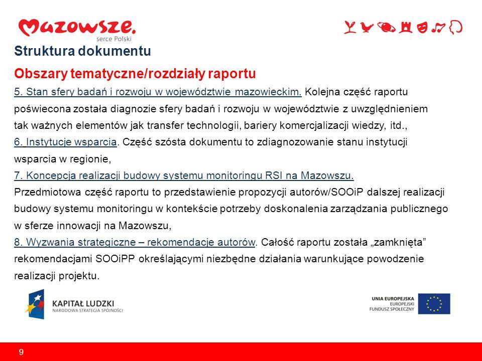 9 Struktura dokumentu Obszary tematyczne/rozdziały raportu 5. Stan sfery badań i rozwoju w województwie mazowieckim. Kolejna część raportu poświecona