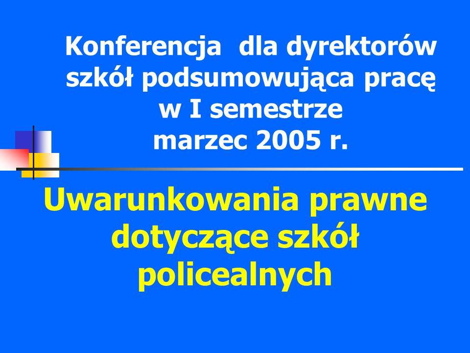 Konferencja dla dyrektorów szkół podsumowująca pracę w I semestrze marzec 2005 r. Uwarunkowania prawne dotyczące szkół policealnych