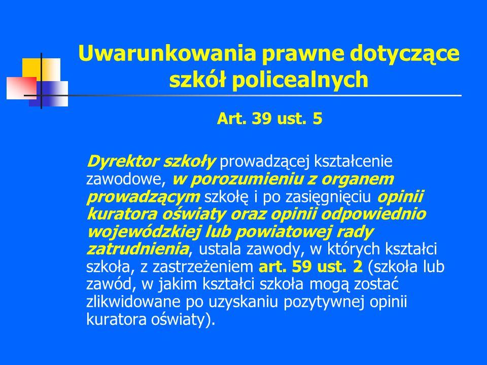 Uwarunkowania prawne dotyczące szkół policealnych Art. 39 ust. 5 Dyrektor szkoły prowadzącej kształcenie zawodowe, w porozumieniu z organem prowadzący