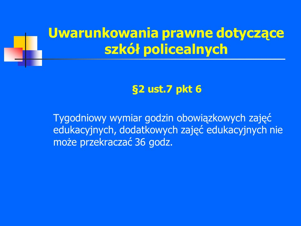 Uwarunkowania prawne dotyczące szkół policealnych §2 ust.7 pkt 6 Tygodniowy wymiar godzin obowiązkowych zajęć edukacyjnych, dodatkowych zajęć edukacyj