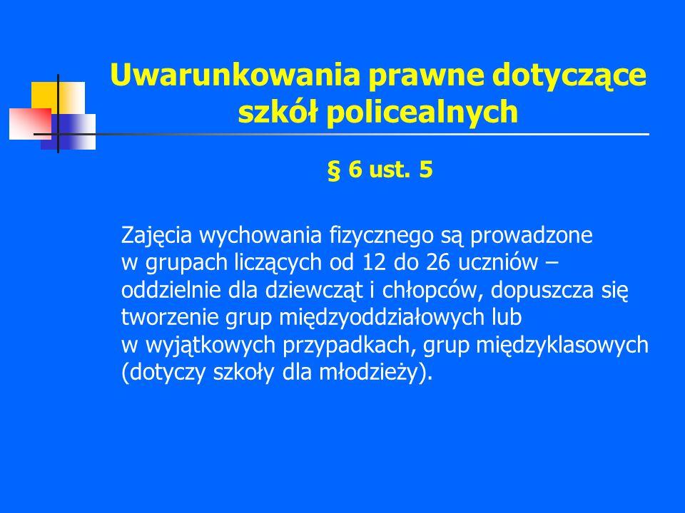 Uwarunkowania prawne dotyczące szkół policealnych § 6 ust. 5 Zajęcia wychowania fizycznego są prowadzone w grupach liczących od 12 do 26 uczniów – odd