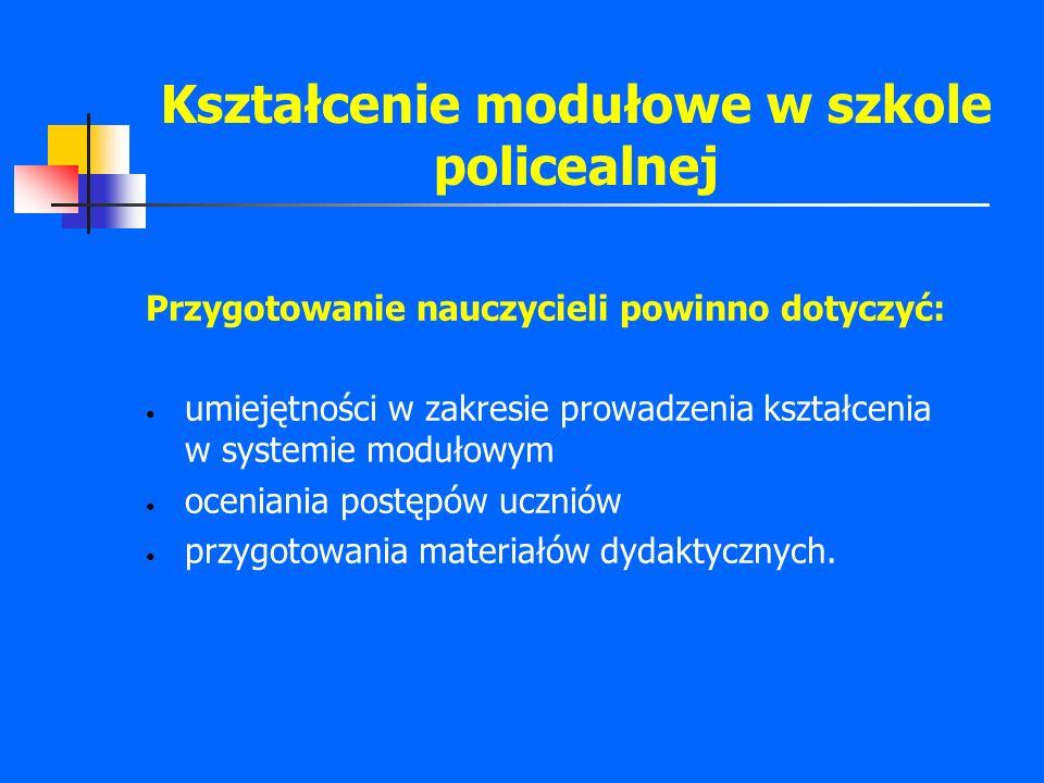 Kształcenie modułowe w szkole policealnej Przygotowanie nauczycieli powinno dotyczyć: umiejętności w zakresie prowadzenia kształcenia w systemie moduł