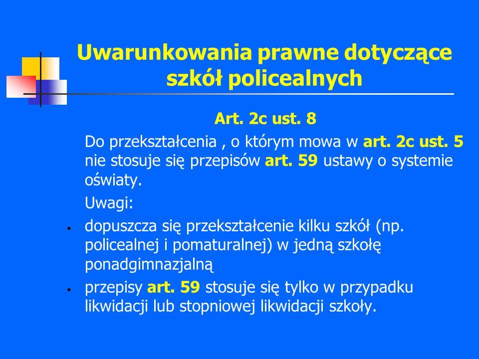 Uwarunkowania prawne dotyczące szkół policealnych Art. 2c ust. 8 Do przekształcenia, o którym mowa w art. 2c ust. 5 nie stosuje się przepisów art. 59