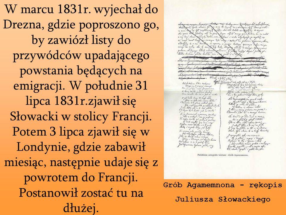 W marcu 1831r. wyjechał do Drezna, gdzie poproszono go, by zawiózł listy do przywódców upadającego powstania będących na emigracji. W południe 31 lipc