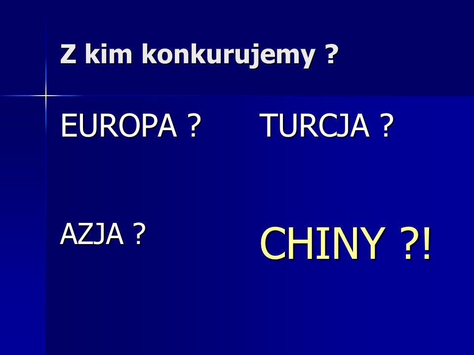 Z kim konkurujemy ? EUROPA ? TURCJA ? AZJA ? CHINY ?!