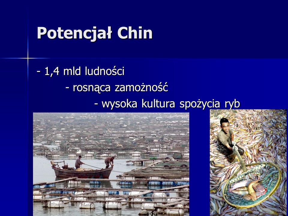 Potencjał Chin - 1,4 mld ludności - rosnąca zamożność - wysoka kultura spożycia ryb