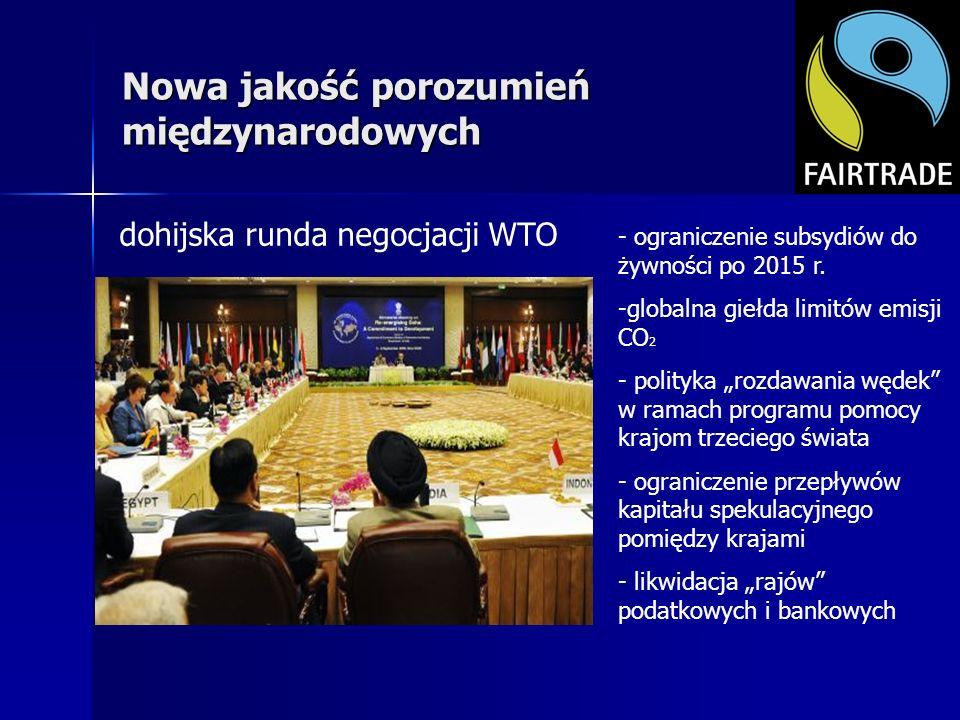 Nowa jakość porozumień międzynarodowych dohijska runda negocjacji WTO - ograniczenie subsydiów do żywności po 2015 r. -globalna giełda limitów emisji