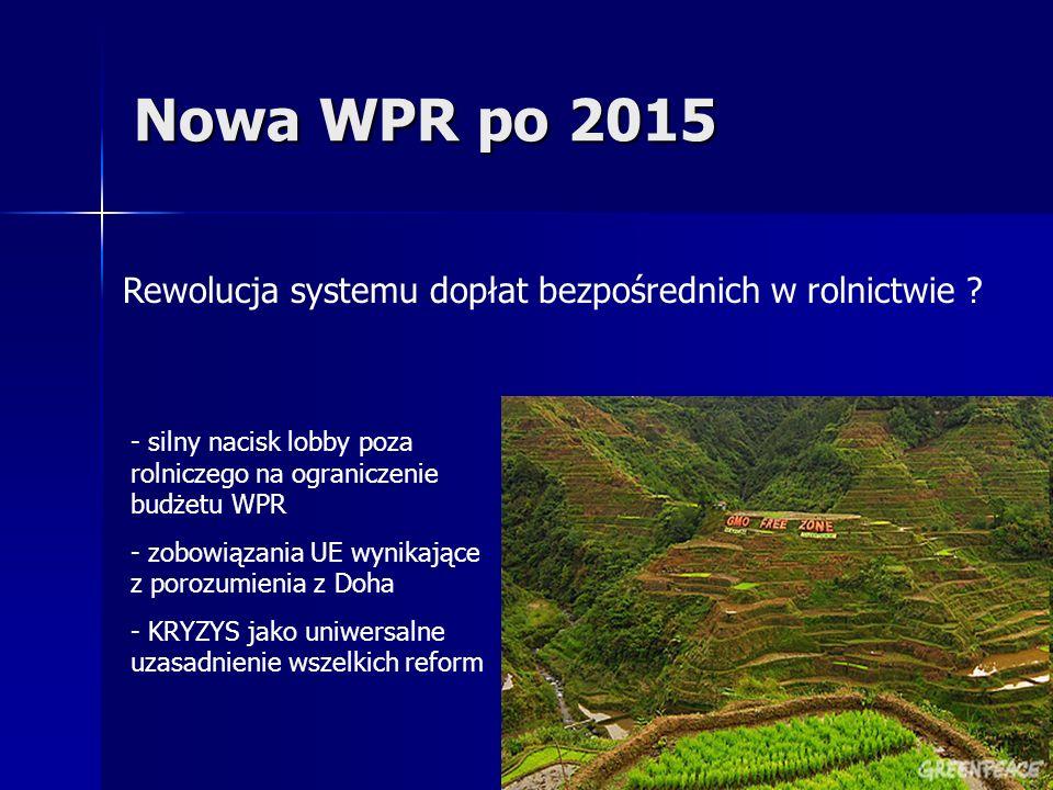 Nowa WPR po 2015 Rewolucja systemu dopłat bezpośrednich w rolnictwie ? - silny nacisk lobby poza rolniczego na ograniczenie budżetu WPR - zobowiązania