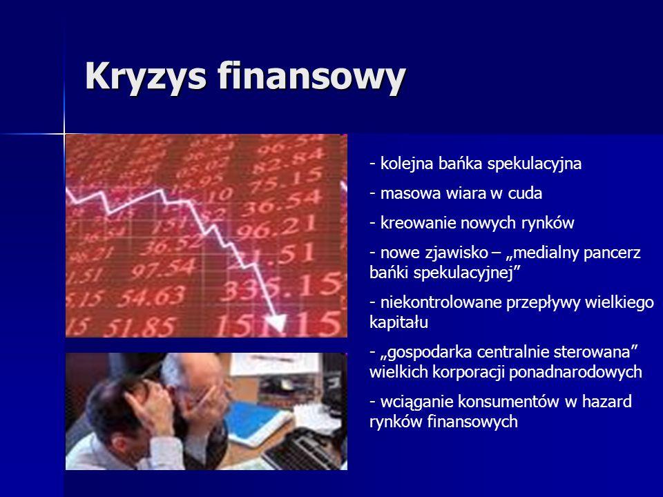 Kryzys finansowy - kolejna bańka spekulacyjna - masowa wiara w cuda - kreowanie nowych rynków - nowe zjawisko – medialny pancerz bańki spekulacyjnej -