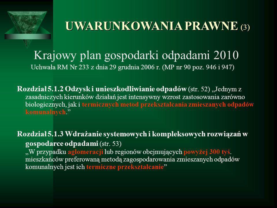 UWARUNKOWANIA PRAWNE (4) Program ochrony środowiska z planem gospodarki odpadami województwa kujawsko-pomorskiego 2010 Uchwała Nr XXIV/468/08 Sejmiku Woj.