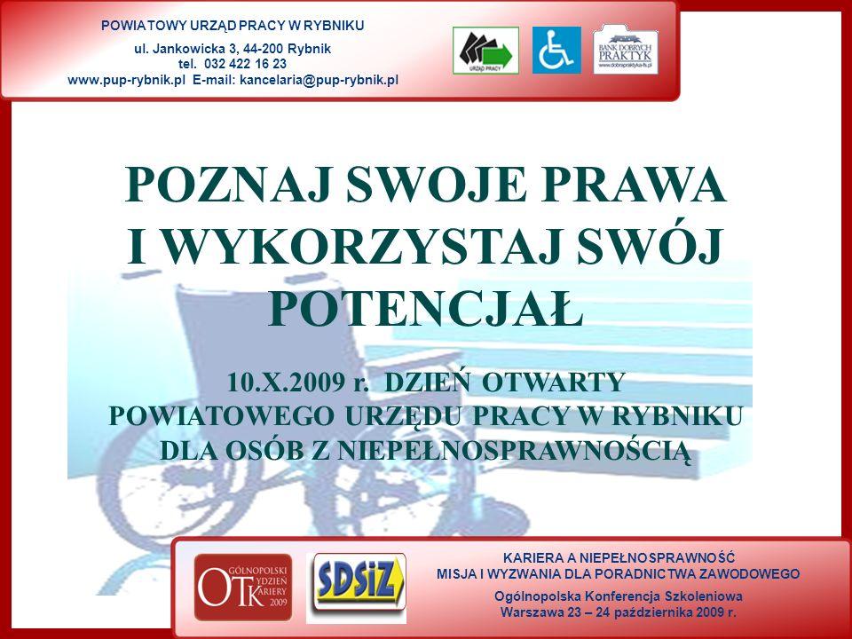 KARIERA A NIEPEŁNOSPRAWNOŚĆ MISJA I WYZWANIA DLA PORADNICTWA ZAWODOWEGO Ogólnopolska Konferencja Szkoleniowa Warszawa 23 – 24 października 2009 r.