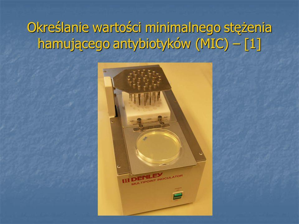 Określanie wartości minimalnego stężenia hamującego antybiotyków (MIC) – [1]