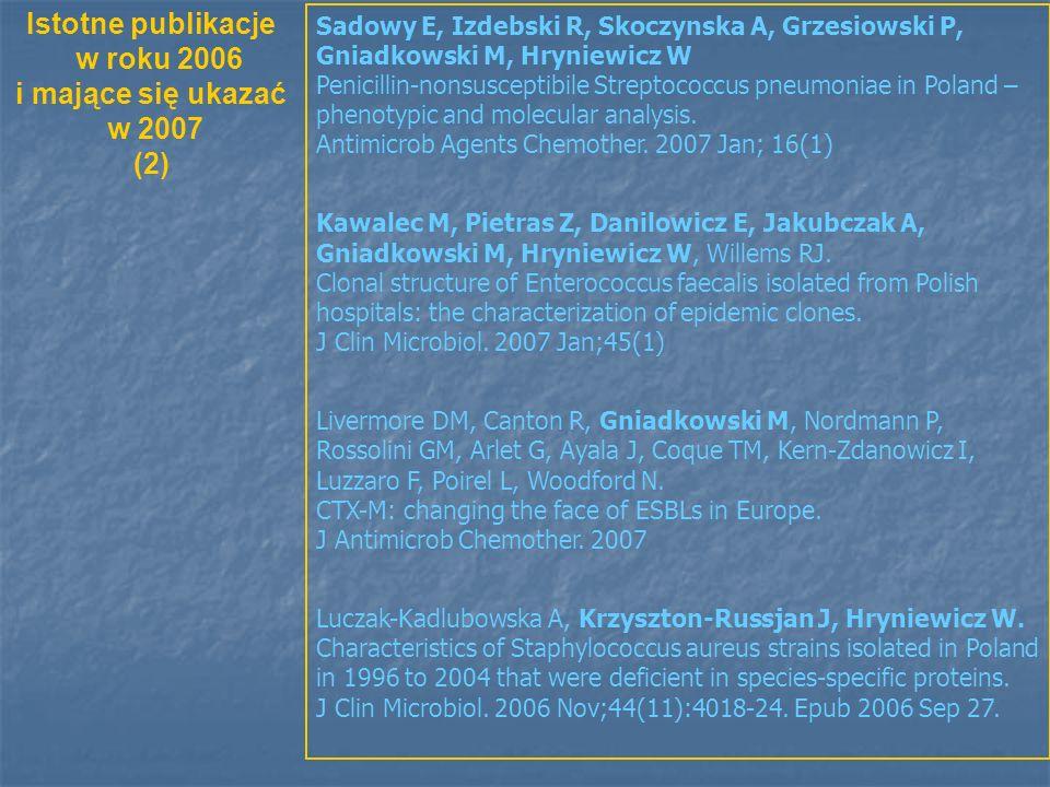 Sadowy E, Izdebski R, Skoczynska A, Grzesiowski P, Gniadkowski M, Hryniewicz W Penicillin-nonsusceptibile Streptococcus pneumoniae in Poland – phenotypic and molecular analysis.
