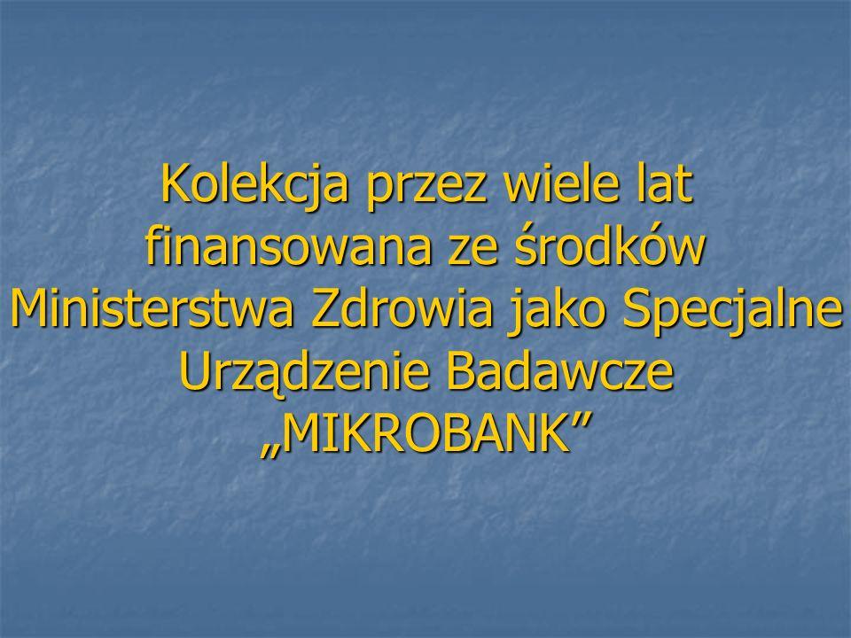 Kolekcja przez wiele lat finansowana ze środków Ministerstwa Zdrowia jako Specjalne Urządzenie Badawcze MIKROBANK