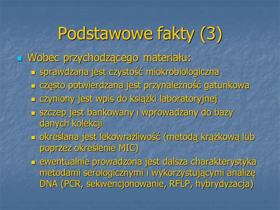 Podstawowe fakty (3) Wobec przychodzącego materiału: Wobec przychodzącego materiału: sprawdzana jest czystość miokrobiologiczna sprawdzana jest czysto