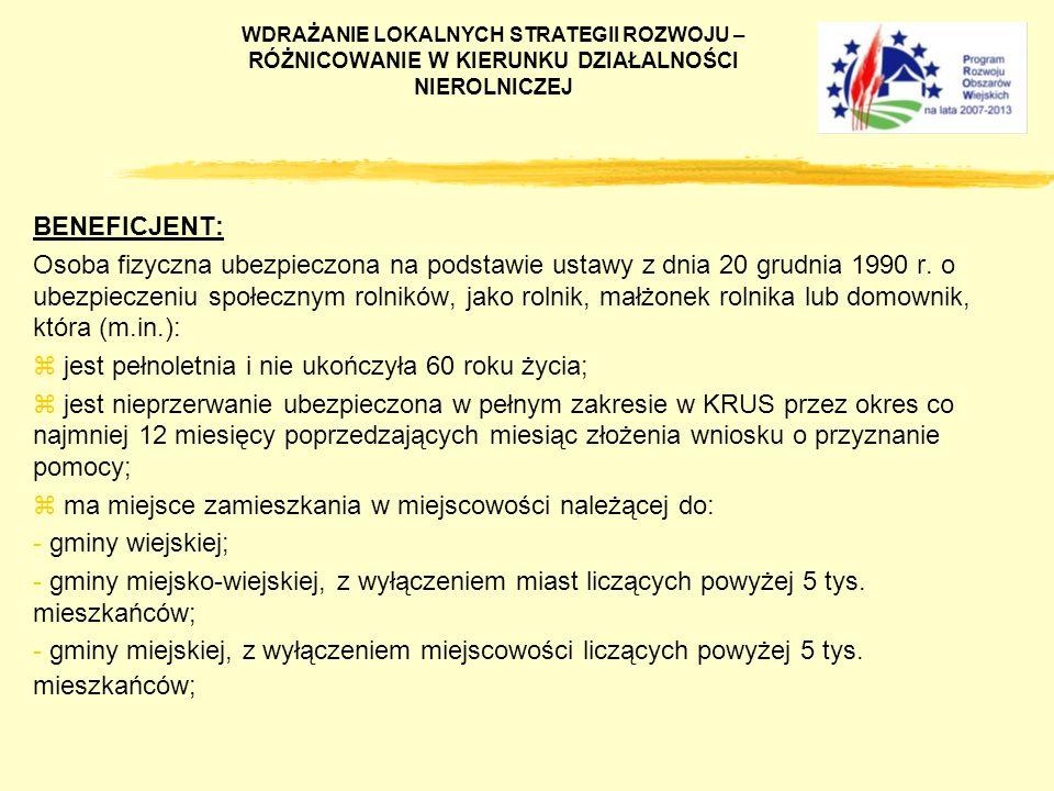 BENEFICJENT: Osoba fizyczna ubezpieczona na podstawie ustawy z dnia 20 grudnia 1990 r. o ubezpieczeniu społecznym rolników, jako rolnik, małżonek roln