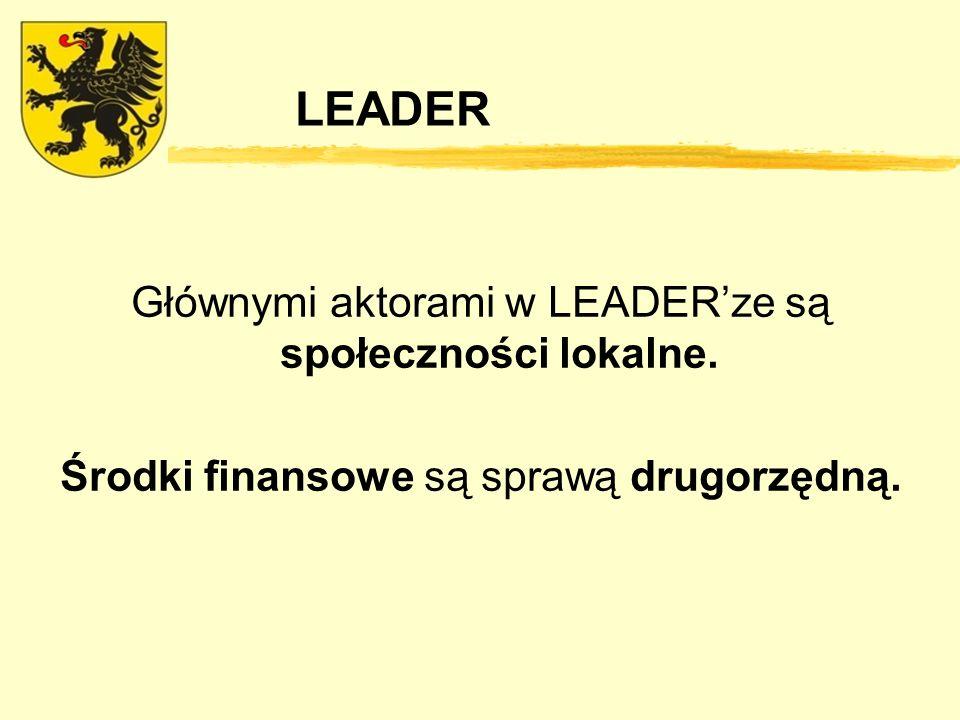 LEADER Głównymi aktorami w LEADERze są społeczności lokalne. Środki finansowe są sprawą drugorzędną.