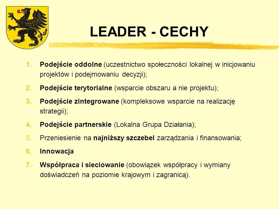 LEADER - CECHY 1.Podejście oddolne (uczestnictwo społeczności lokalnej w inicjowaniu projektów i podejmowaniu decyzji); 2.Podejście terytorialne (wsparcie obszaru a nie projektu); 3.Podejście zintegrowane (kompleksowe wsparcie na realizację strategii); 4.Podejście partnerskie (Lokalna Grupa Działania); 5.Przeniesienie na najniższy szczebel zarządzania i finansowania; 6.Innowacja 7.Współpraca i sieciowanie (obowiązek współpracy i wymiany doświadczeń na poziomie krajowym i zagranicą).