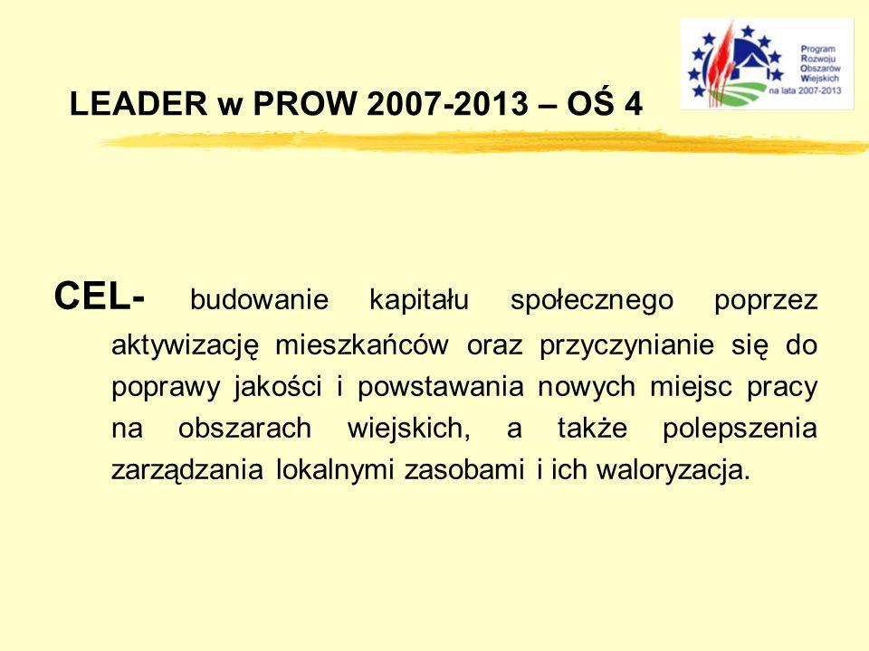 LEADER w PROW 2007-2013 – OŚ 4 CEL- budowanie kapitału społecznego poprzez aktywizację mieszkańców oraz przyczynianie się do poprawy jakości i powstawania nowych miejsc pracy na obszarach wiejskich, a także polepszenia zarządzania lokalnymi zasobami i ich waloryzacja.