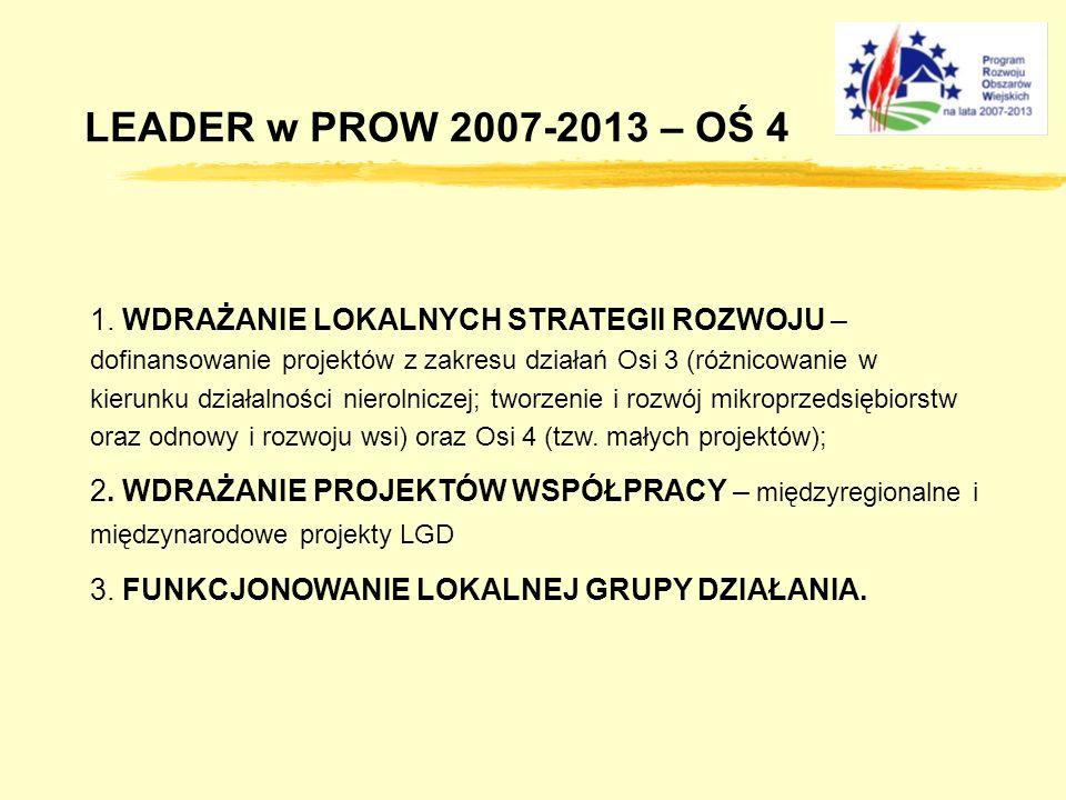LEADER w PROW 2007-2013 – OŚ 4 1. WDRAŻANIE LOKALNYCH STRATEGII ROZWOJU – dofinansowanie projektów z zakresu działań Osi 3 (różnicowanie w kierunku dz