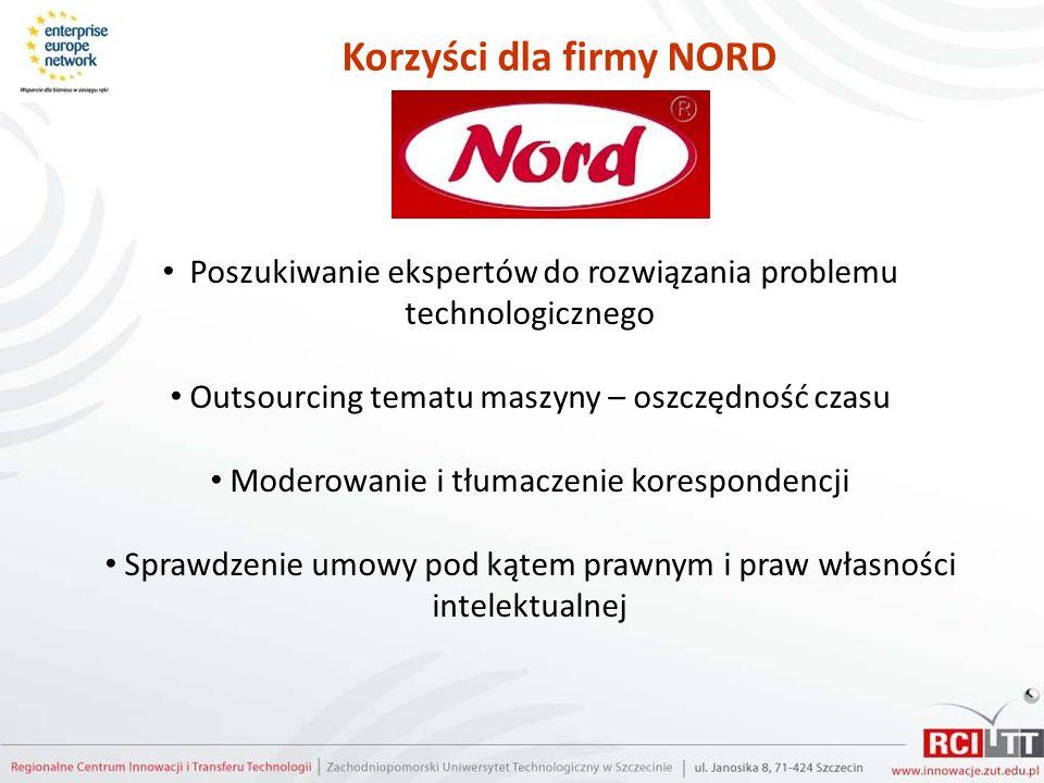 Korzyści dla firmy NORD Poszukiwanie ekspertów do rozwiązania problemu technologicznego Outsourcing tematu maszyny – oszczędność czasu Moderowanie i t