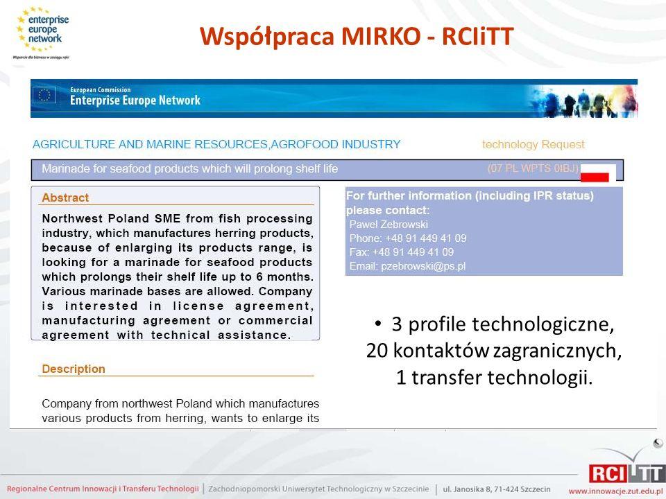 Współpraca MIRKO - RCIiTT 3 profile technologiczne, 20 kontaktów zagranicznych, 1 transfer technologii.