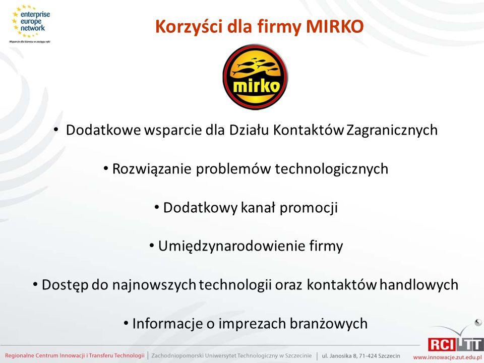 Korzyści dla firmy MIRKO Dodatkowe wsparcie dla Działu Kontaktów Zagranicznych Rozwiązanie problemów technologicznych Dodatkowy kanał promocji Umiędzy