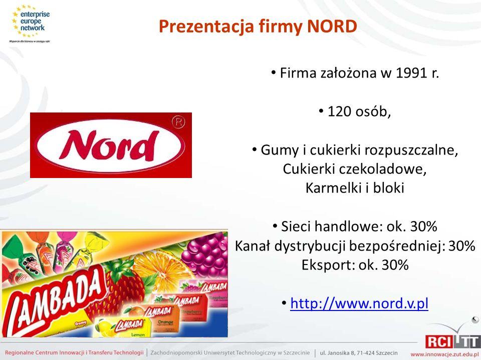 Prezentacja firmy NORD Firma założona w 1991 r. 120 osób, Gumy i cukierki rozpuszczalne, Cukierki czekoladowe, Karmelki i bloki Sieci handlowe: ok. 30
