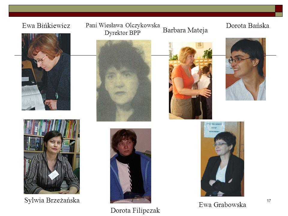 17 Ewa Bińkiewicz Pani Wiesława Olczykowska Dyrektor BPP Barbara Mateja Dorota Bańska Sylwia Brzeżańska Ewa Grabowska Dorota Filipczak