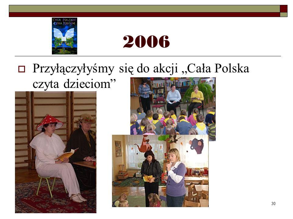 30 2006 Przyłączyłyśmy się do akcji Cała Polska czyta dzieciom