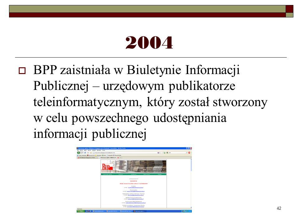 42 2004 BPP zaistniała w Biuletynie Informacji Publicznej – urzędowym publikatorze teleinformatycznym, który został stworzony w celu powszechnego udos