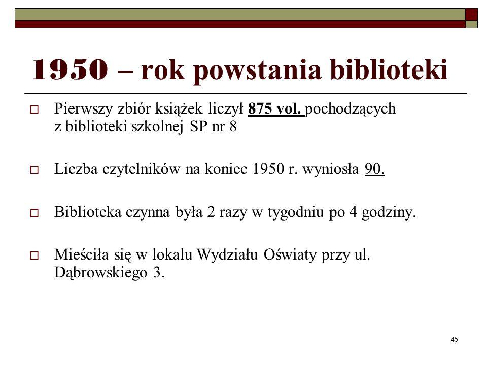 45 1950 – rok powstania biblioteki Pierwszy zbiór książek liczył 875 vol. pochodzących z biblioteki szkolnej SP nr 8 Liczba czytelników na koniec 1950