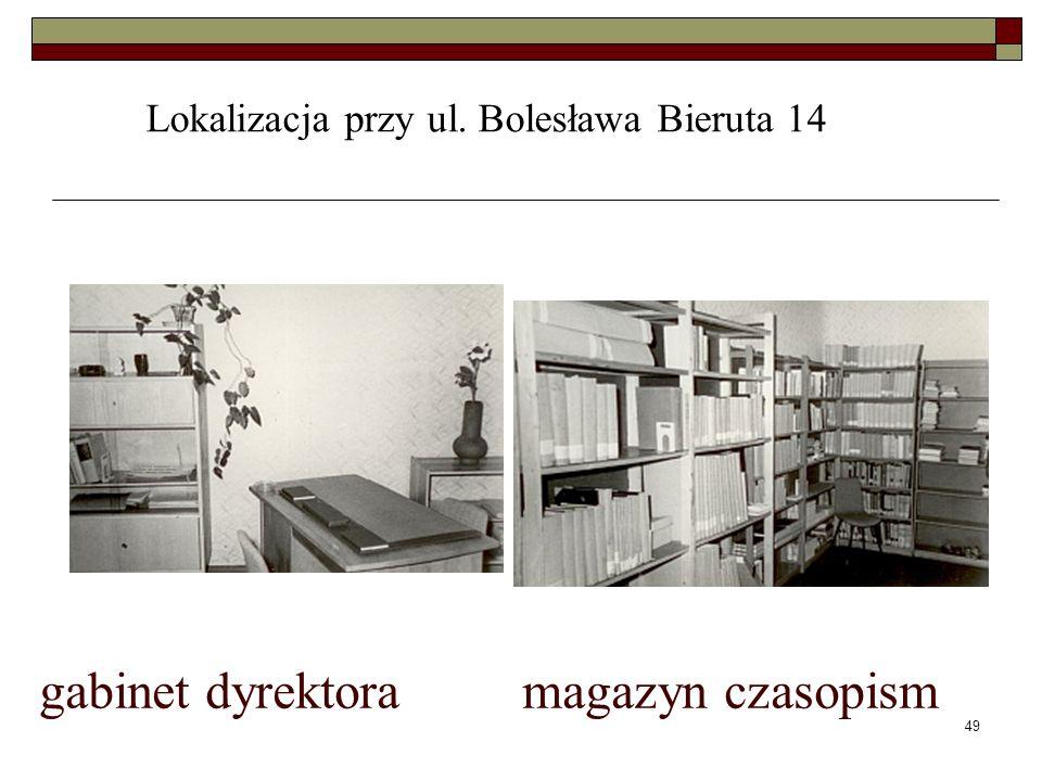 49 gabinet dyrektora magazyn czasopism Lokalizacja przy ul. Bolesława Bieruta 14