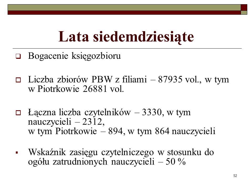 52 Lata siedemdziesiąte Bogacenie księgozbioru Liczba zbiorów PBW z filiami – 87935 vol., w tym w Piotrkowie 26881 vol. Łączna liczba czytelników – 33