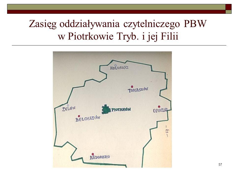 57 Zasięg oddziaływania czytelniczego PBW w Piotrkowie Tryb. i jej Filii