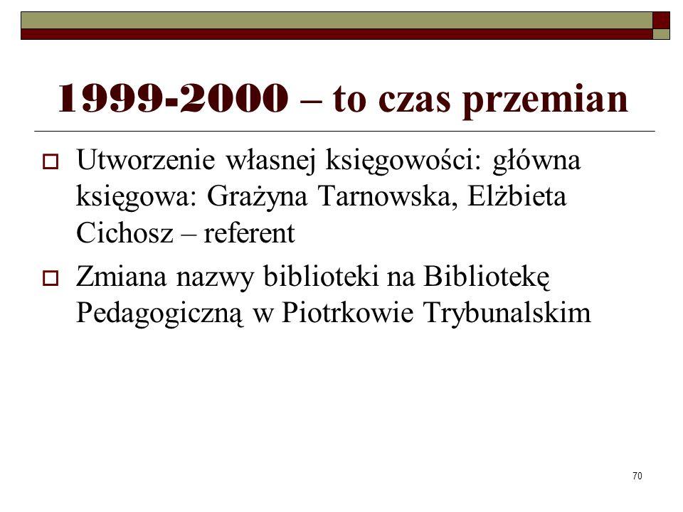 70 1999-2000 – to czas przemian Utworzenie własnej księgowości: główna księgowa: Grażyna Tarnowska, Elżbieta Cichosz – referent Zmiana nazwy bibliotek
