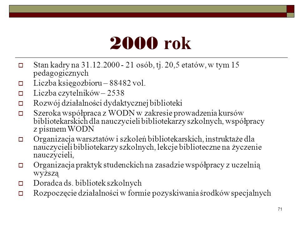 71 2000 rok Stan kadry na 31.12.2000 - 21 osób, tj. 20,5 etatów, w tym 15 pedagogicznych Liczba księgozbioru – 88482 vol. Liczba czytelników – 2538 Ro