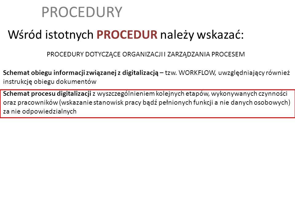 PROCEDURY Wśród istotnych PROCEDUR należy wskazać: Schemat obiegu informacji związanej z digitalizacją – tzw. WORKFLOW, uwzględniający również instruk