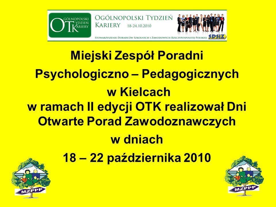 Miejski Zespół Poradni Psychologiczno – Pedagogicznych w Kielcach w ramach II edycji OTK realizował Dni Otwarte Porad Zawodoznawczych w dniach 18 – 22