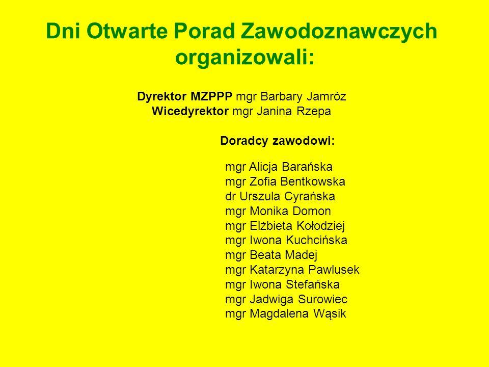 Dni Otwarte Porad Zawodoznawczych organizowali: Dyrektor MZPPP mgr Barbary Jamróz Wicedyrektor mgr Janina Rzepa Doradcy zawodowi: mgr Alicja Barańska