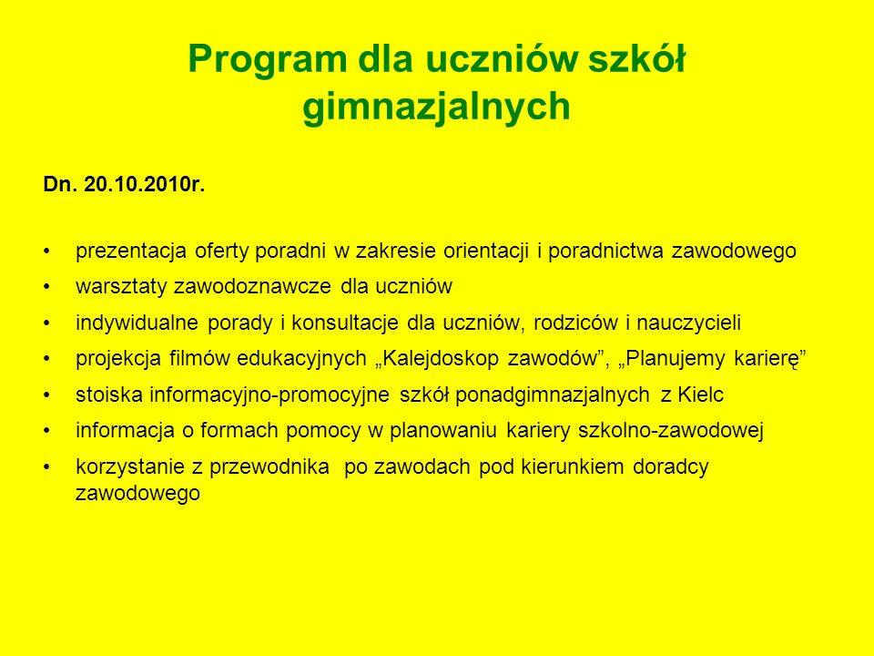 Program dla uczniów szkół gimnazjalnych Dn. 20.10.2010r. prezentacja oferty poradni w zakresie orientacji i poradnictwa zawodowego warsztaty zawodozna