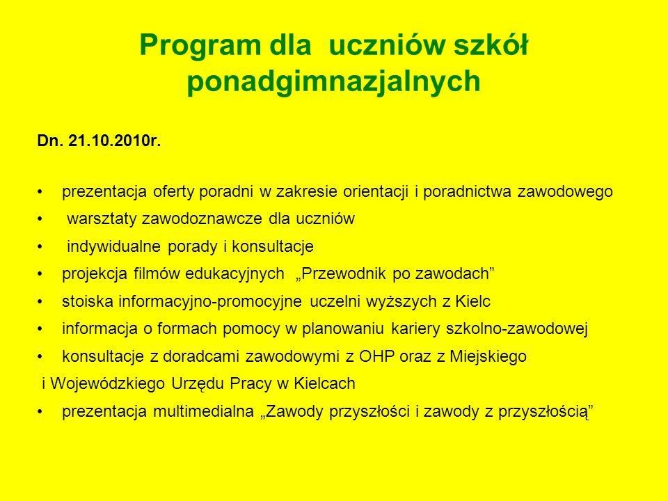 Program dla uczniów szkół ponadgimnazjalnych Dn. 21.10.2010r. prezentacja oferty poradni w zakresie orientacji i poradnictwa zawodowego warsztaty zawo