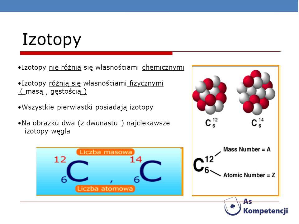 Izotopy Izotopy nie różnią się własnościami chemicznymi Izotopy różnią się własnościami fizycznymi ( masą, gęstością ) Wszystkie pierwiastki posiadają