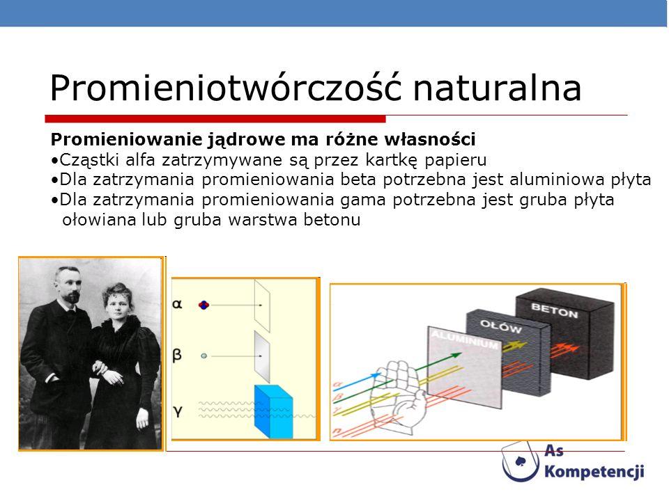 Promieniotwórczość naturalna Promieniowanie jądrowe ma różne własności Cząstki alfa zatrzymywane są przez kartkę papieru Dla zatrzymania promieniowani