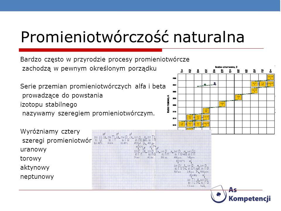 Promieniotwórczość naturalna Bardzo często w przyrodzie procesy promieniotwórcze zachodzą w pewnym określonym porządku Serie przemian promieniotwórczy