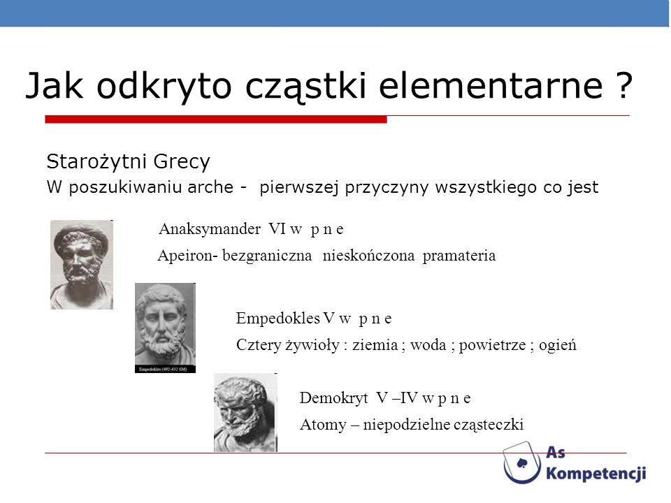 Jak odkryto cząstki elementarne ? Starożytni Grecy W poszukiwaniu arche - pierwszej przyczyny wszystkiego co jest Apeiron- bezgraniczna nieskończona p
